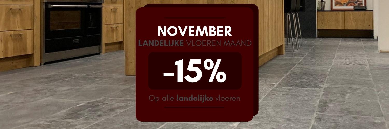 November: maand van de landelijke vloeren  - 15% korting op alle landelijke vloeren van Nibo Stone, lees snel verder >>