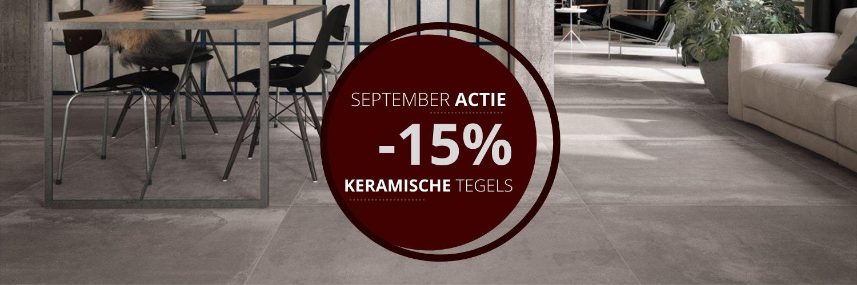 September actie - Krijg nu 15% korting op de hele collectie keramische tegels.*  Lees snel verder >>